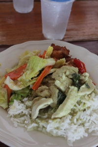 Green Curry, Mix Vegies, Fried Chicken & Rice