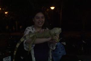 Me holding a lizard