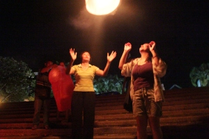 Amazed flying the lantern